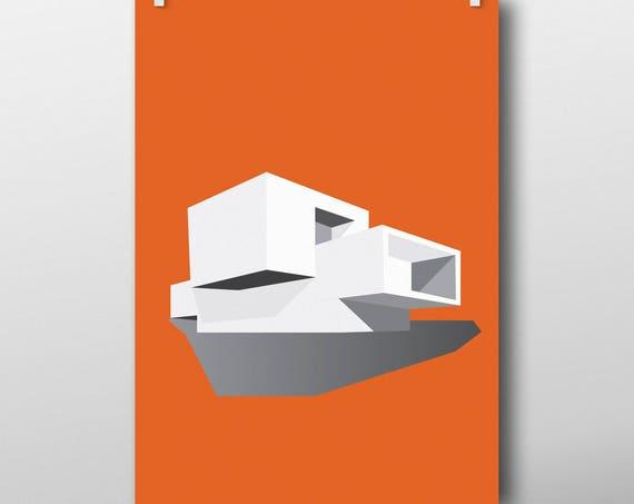 Elegant Modernist House - art print poster