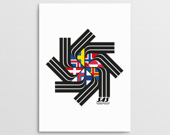 SAS Retro Scandinavian Travel Poster