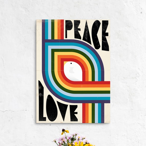Peace & Love - Retro Rainbow Graphic Design Poster