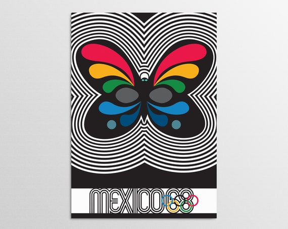 Mexico 68 - Butterfly - Olympic Art Print