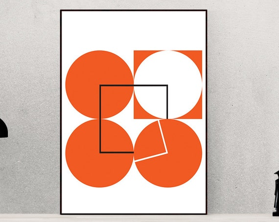 Eight Fifty Five - Orange Retro Geometric 1950's style vintage art print