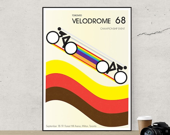 Velodrome - Retro Styled Poster Cycling Bike - multicolor poster mod circles brown yellow orange