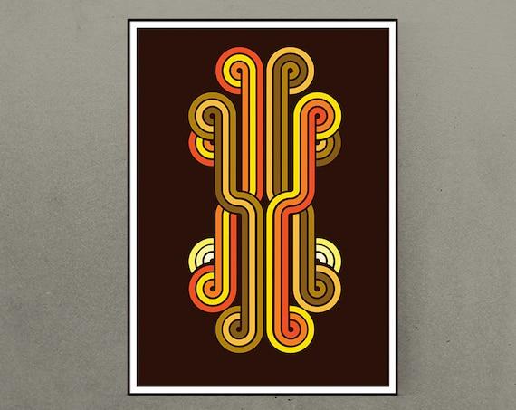 Pipes - Retro Geometric 1970's 1960s style vintage art print