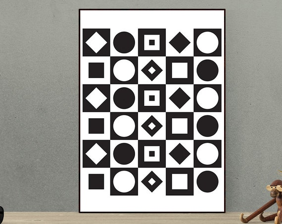 Frequency - Geometric Mod Retro Vintage Inspired Op Art Print 60s 70s style monochrome