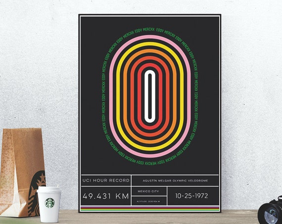 Fast Eddy - Cycling Poster Eddy Merckx Mexico City 1972 1 Hour Record Retro Vintage Style Graphic Design