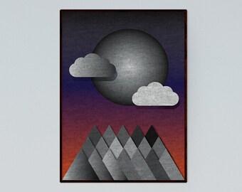 Felt Mountain - Night - Graphic Design Landscape Sun Art Poster A2 or A3 unframed