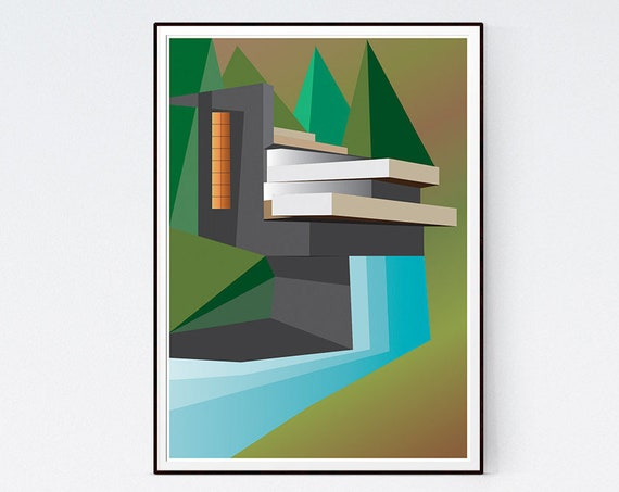 Fallingwater - Architecture Illustration of Frank Lloyd Wright House - art print poster