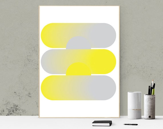 Horizon - Abstract Pop Art Mod Geometric Print - poster grey yellow large A1 A2 Contemporary Modernist