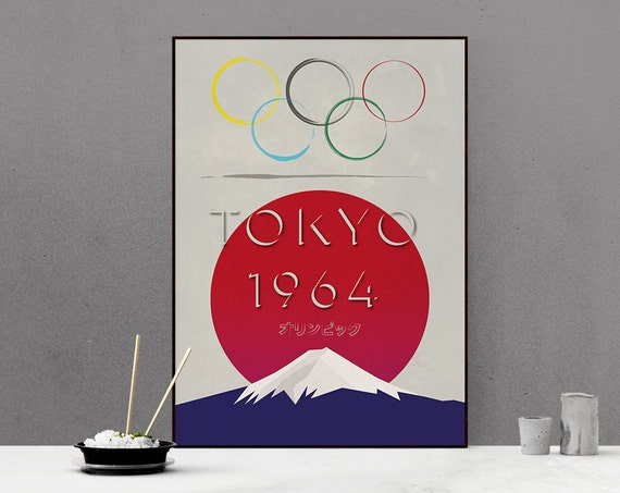 Tokyo Olympics 1964 - Retro Styled Poster - Vintage look - Mount Fuji - recreation
