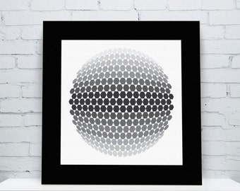 Event - Op Art Print modern graphic design pop art 1960s 1970s style monochromatic