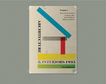 Architecture and Interiors - Retro Styled Modernist Typography Bauhaus Poster - Vintage look - - recreation not original