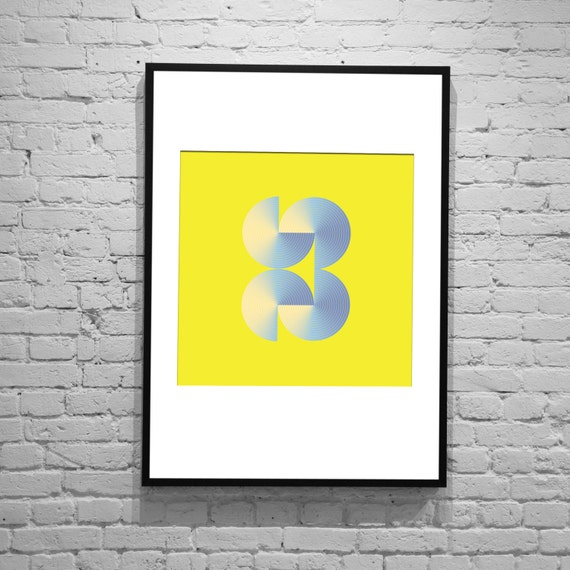Revolver - Yellow Retro Vintage Inspired Op Art Print 60s 70s style