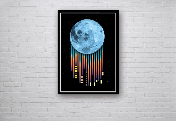 Graphic Design Art Poster - City Skyline under a Blue Moon