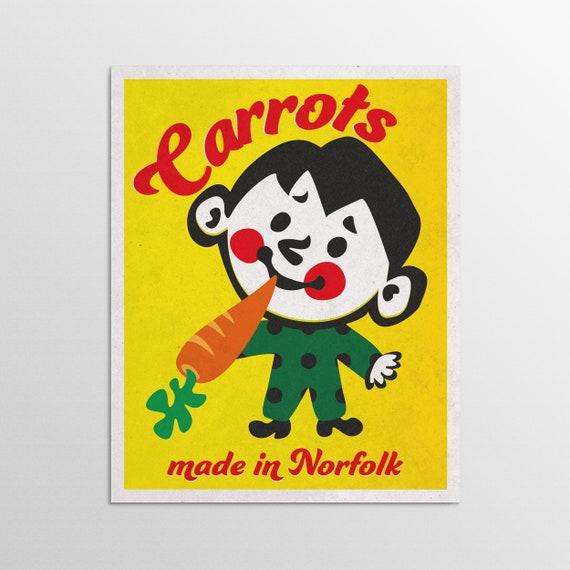 Carrots - Norfolk Retro Advertising Poster