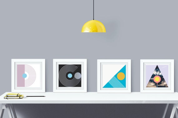 Four Elements - Abstract Graphic Art - Mod Geometric Print Set of 4