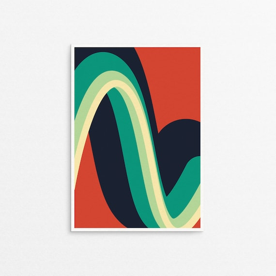 Wiggle Graphic Art Print in retro colours