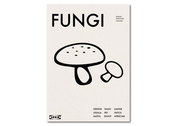 FUNGI - IKEA Parody Kitchen Diner Graphic Art Poster Typography
