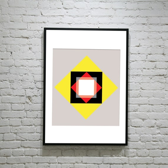 Portal - Retro Vintage Inspired Op Art Print 60s 70s style Mod Abstract Geometric A2 Poster Print