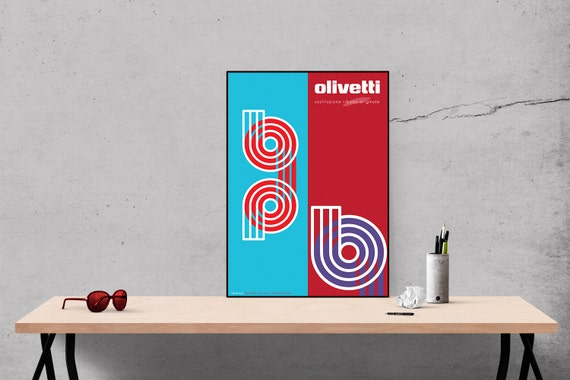 Ribbon - Retro Vintage Style Olivetti Advertising Poster blue and red