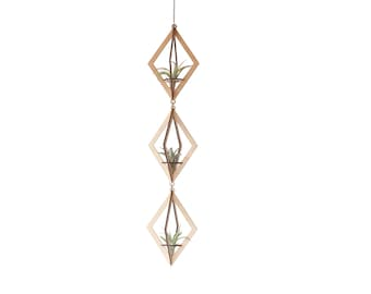 air plant hanger trio >> diamond >> maple