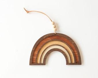 wood cut rainbow charm