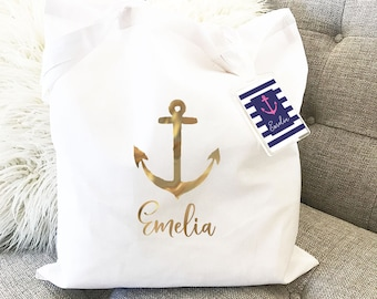 Personalized Tropical Tote Bag - Anchor