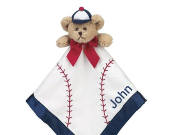 Baseball Bear Personalized Sports Lovie Blanket for Baby