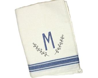 Blue Stripe Vintage Dish Towel with Monogram Personalization