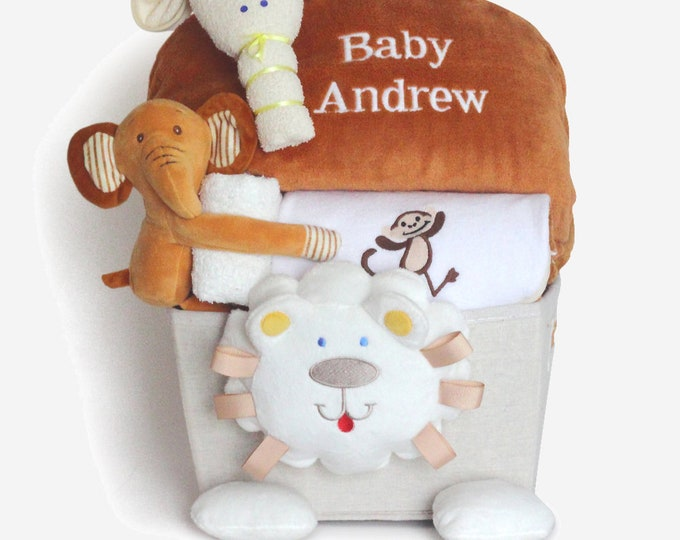 Featured listing image: Plush Lion Personalized Baby Layette Gift Basket
