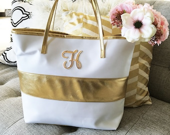 Monogram Gold Stripe Bag, Personalized Bag