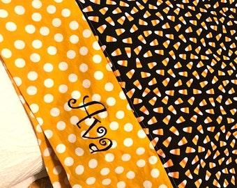 Candy Corn Halloween Pillowcase, Optional Personalization