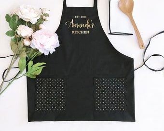 Women's Personalized Black Aprons