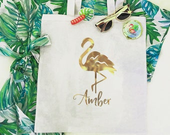 Personalized Tropical Tote Bag - Flamingo