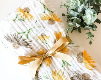 Autumn Yellow Daisies Swaddle Blanket/Swaddle Blanket/Newborn Muslin Blanket