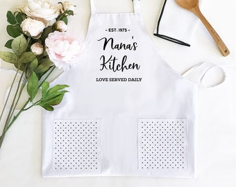 Women's Personalized White Aprons