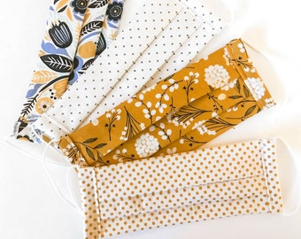 Social Comfort Fabric Face Masks - Mustard Floral Blues, Dots and Mini Crosses