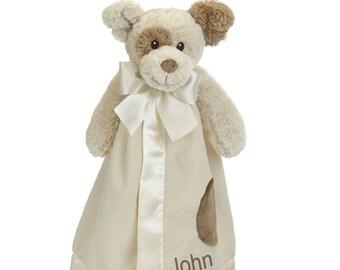 Cream Puppy Personalized Lovie Blanket for Baby, Puppy