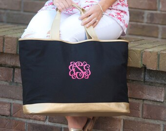 Black Cabana Monogram Tote, Large Personalized Canvas Bag