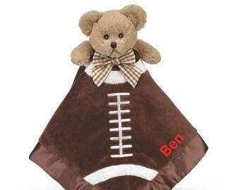 Football Bear Personalized Sports Lovie Blanket for Baby