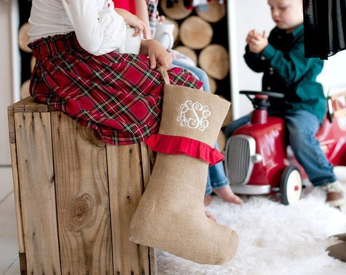 Featured listing image: Red Ruffle Farmhouse Burlap Christmas Stocking