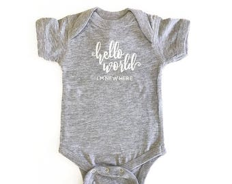 Hello World I'm New Here Bodysuit - Optional Personalization