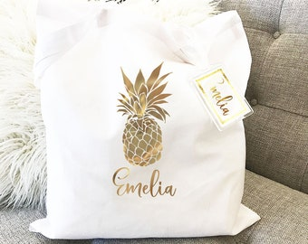 Personalized Tropical Tote Bag - Pineapple