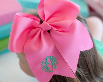 Hot Pink Monogram Jumbo Hair Bow, Personalized Girl's Bows