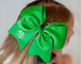 Green Monogram Jumbo Hair Bow, Personalized Girl's Bows