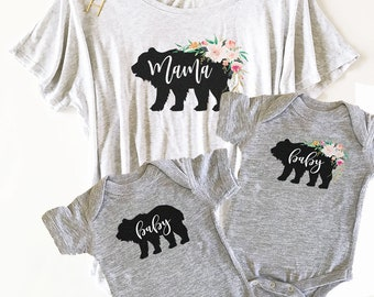 Rustic Mama Bear Shirt and Baby Bear Onesie