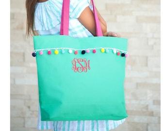 Emily Personalized Tote Bag with Pom Pom Trim