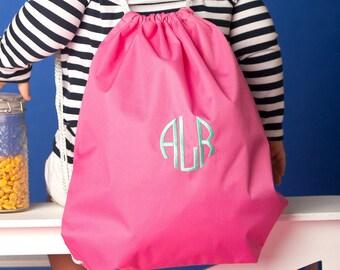 Hot Pink Girls Monogrammed Gym Bag, Monogram Backpack, Back to School