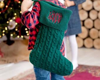 Green Knit Christmas Stocking