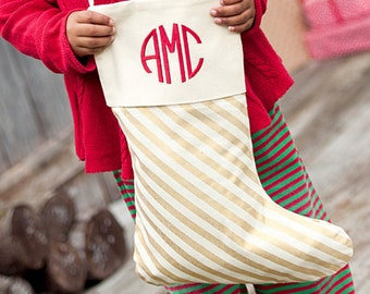 Classic Gold Stripe Christmas Stocking