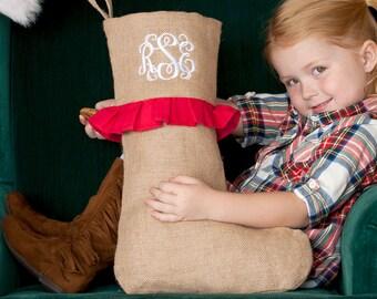 Red Ruffle Farmhouse Burlap Christmas Stocking
